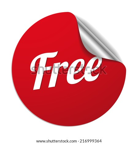 Red round free sticker on white background - stock vector