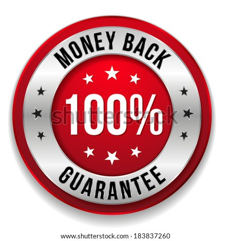 Red round hundred percent money back button on white background - stock vector