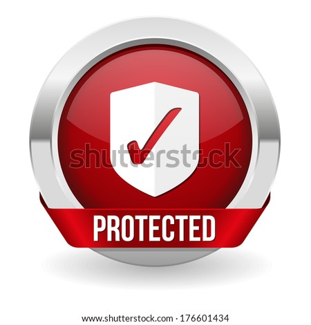 Red round protected button with metallic border - stock vector