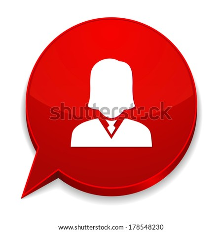 Red round speech bubble with female icon - stock vector