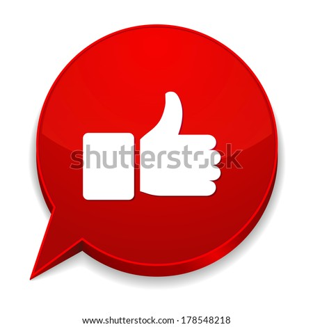 Red round speech bubble with thumb icon - stock vector