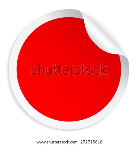 Red round sticker - stock vector
