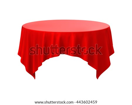 Nice Red Round Tablecloth Table On A White Background