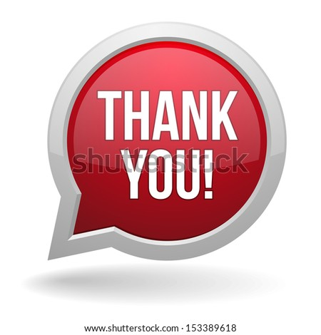 Red round thank you speech bubble - stock vector