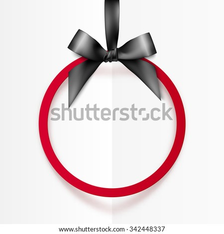 Red round vector frame hanging on black silky ribbon with bow