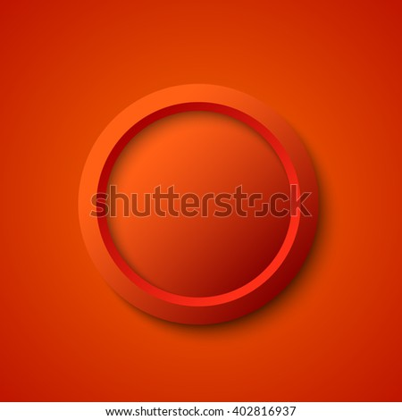 Red round web button. Vector illustration.