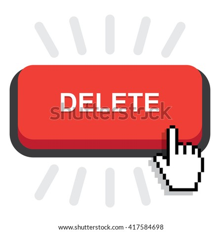 red rounded delete button on white background - stock vector