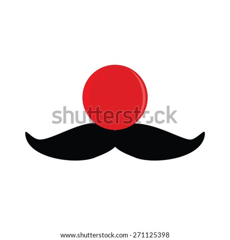 Red, rubber clown nose with black mustache vector set,  - stock vector