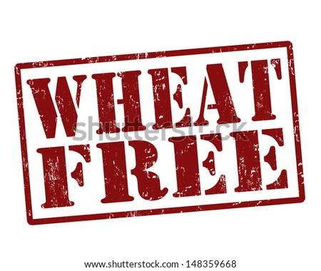 Red rubber stamp vector for wheat free food concept