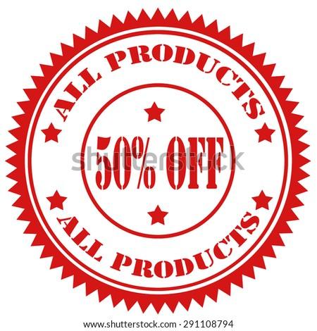 Red rubber stamp with text All Products 50% Off,vector illustration - stock vector