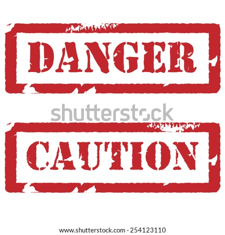 Red rubber stamp with text danger and caution vector set isolated, watermark, danger stamp, caution stamp - stock vector