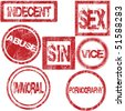 Red rubber stamps with sexual conotation - stock vector