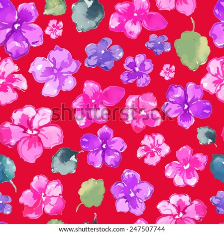 Red Russian Floral Seamless Pattern. Copy that square to the side and you'll get seamlessly tiling pattern which gives the resulting image ability to be repeated or tiled without visible seams.  - stock vector