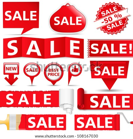 Red sale banners, vector eps10 illustration - stock vector