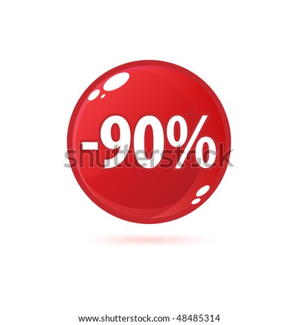 Red sale button with discount
