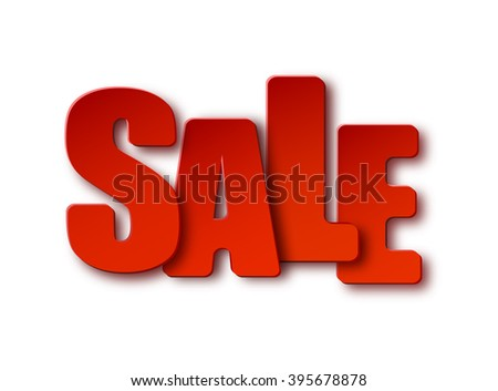 Red sale 3d paper sign on white background.