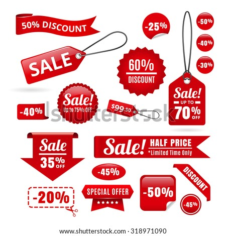 Red Sale Discount Tags, Badges And Ribbons - stock vector