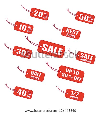 Red  sale labels - stock vector