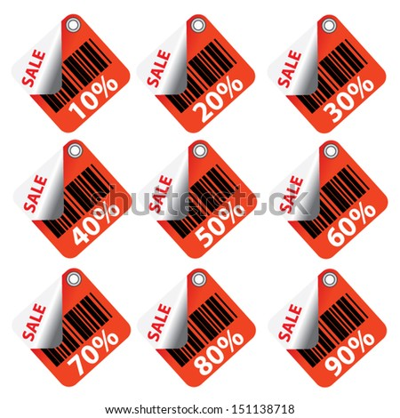 Red Sale tags and stickers with Sale up to 10 - 90 percent text on square tags and stickers.  - stock vector