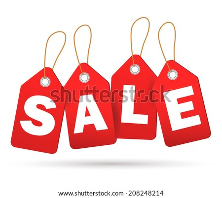 Red sale tags. Concept of discount shopping. Vector.