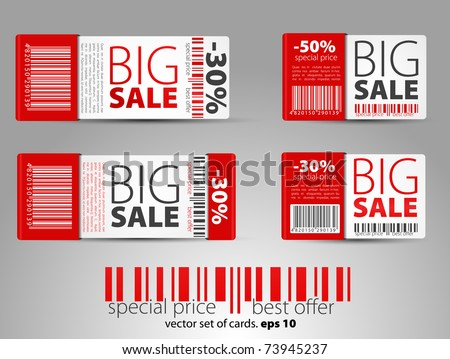 red sale tickets - stock vector
