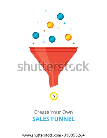 Red Sales Funnel in flat style. Vector illustration. - stock vector
