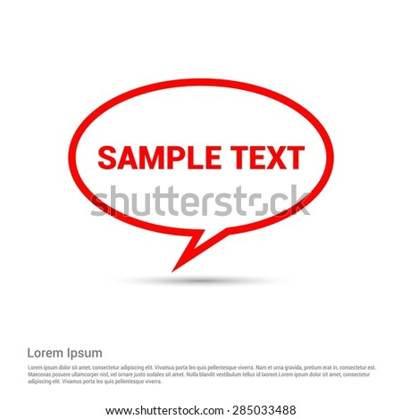 Red Sample text speech bubble for your own design - stock vector