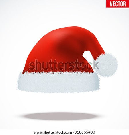 Red Santa Claus hat. Vector Illustration isolated on white background