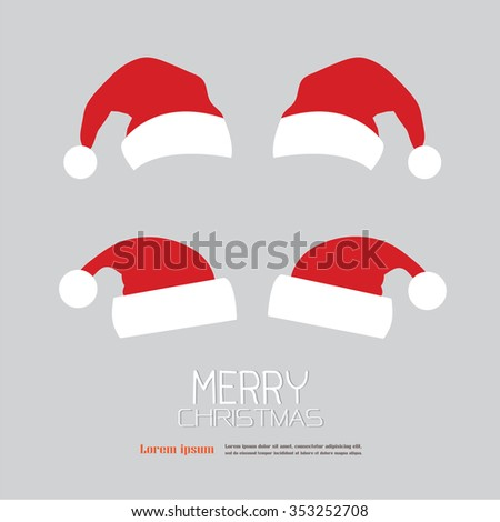 red Santa Claus hats with merry Christmas word.santa claus.vector illustration.
