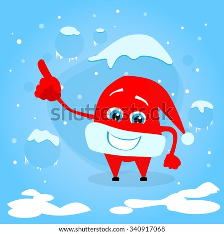 Red Santa Hat Christmas Pointing Finger Up Showing Empty Copy Space Cartoon Character Concept Blue Snow Background Illustration