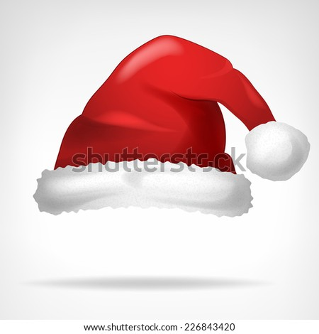 red santa hat isolated on white vector illustration - stock vector