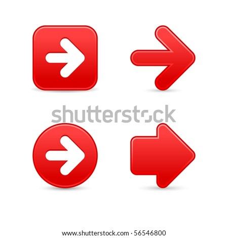 Red satin arrow sign web 2.0 buttons with shadow on white background