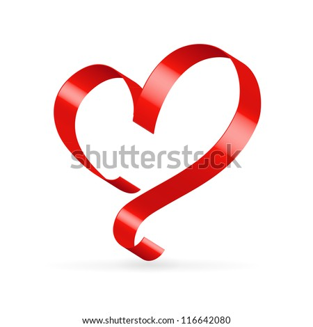 Red satin glossy ribbon heart over white - stock vector