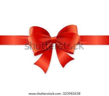 Red Satin Ribbon for Invitation, Greeting Card. Vector illustration - stock vector