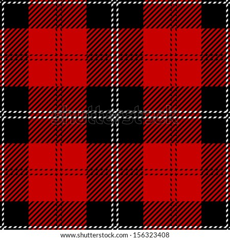 Red Scottish Seamless Tartan Plaid - stock vector