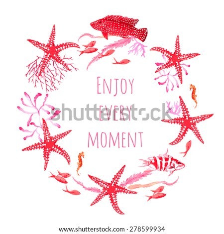 Red sea fauna watercolor vector design round frame. All elements are isolated and editable. - stock vector