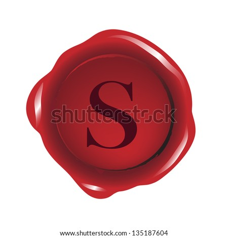 """Red seal wax with alphabet letter """"S"""" vector - stock vector"""