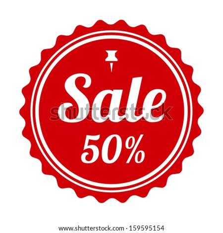 Red seals sticker. Vector background. 50% sale. - stock vector