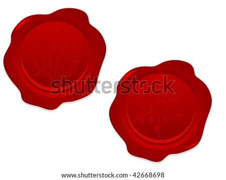 Red seals with snowflakes - vector illustration
