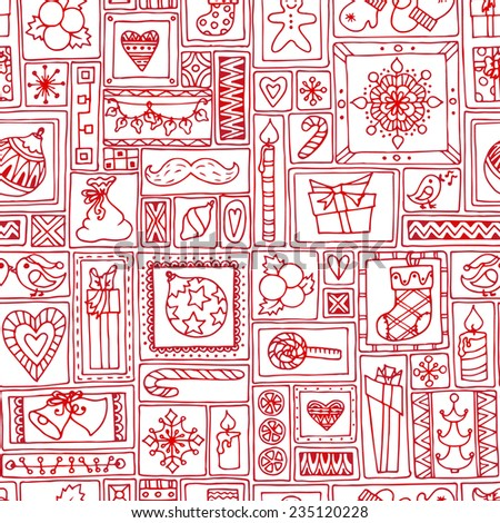 Red seamless Christmas and New Year pattern with bells, christmas tree, sweets, candles, citrus, snowflakes, gifts and hearts. Geometric hand drawn background for cover, prints, packaging. - stock vector