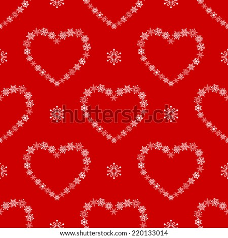 Red seamless pattern with hearts made of snowflakes.  - stock vector
