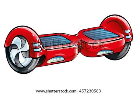 Red Self-Balancing Scooter, isolated vector