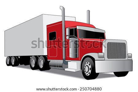 red semi truck with trailer delivering goods - stock vector