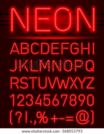 Red set neon font and symbols isolated on black
