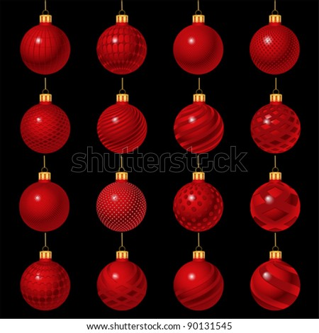red set of Christmas ornament, vector - stock vector