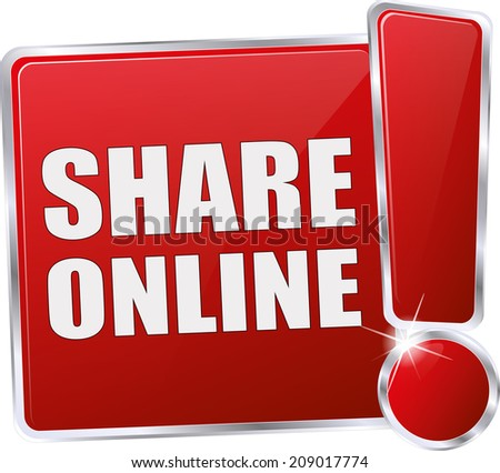 red share online button - stock vector