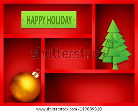 red shelf with Christmas and New Year elements - stock vector