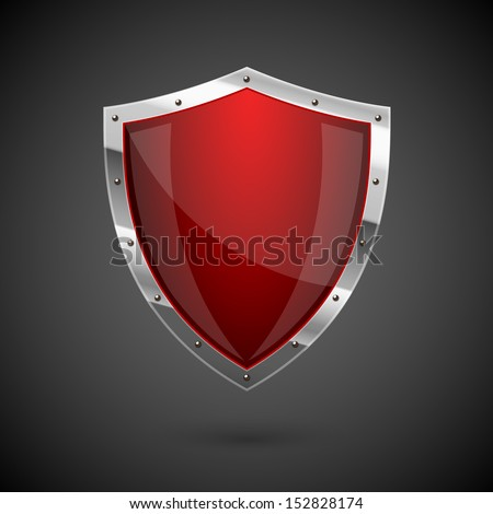 Red shield icon - eps10 - stock vector