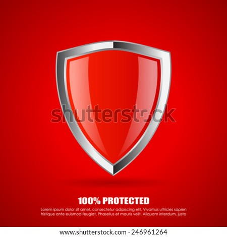 Red shield protection icon - stock vector