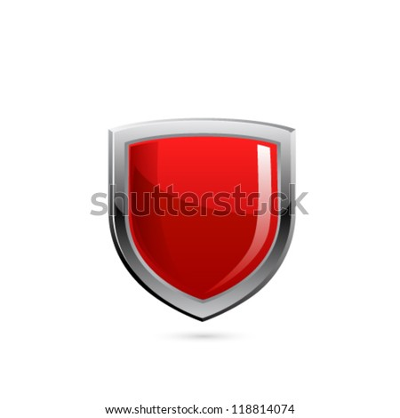 Red shield. Vector - stock vector